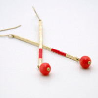 Geometric Hammered Stick Dangle Earrings with Coral Beads - Coral Hand Painted Modern Brass Jewelry