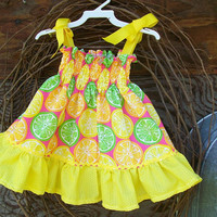 Girls Dress size 18/24 months, sundress, yellow ruffles, ribbon, spring/summer