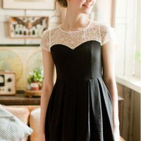 White lace neckline black dress from SweetiePie524