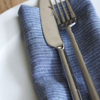Linen Dinner Napkins - FREE SHIPPING - Denim Pin Stripes