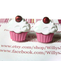 Cupcake Stud Earrings, Pink and White with Red Glitter Cherry, Acrylic, Surgical Steel Posts