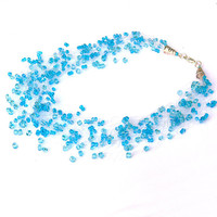 Aqua Blue Necklace. Wedding Necklace. Beadwork.  Multistrand Necklace.