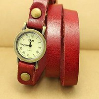 [5605-Red Wine] Leather Bracelet Design Quartz Watch