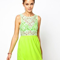 Glamorous Skater Dress In Neon Lace at asos.com