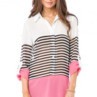 Russe Striped Blouse in Pink - ShopSosie.com