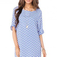 Zig Zag Shift Dress in Skylight - ShopSosie.com