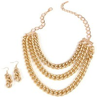 Gold 3 Row Chain-Link Statement Necklace