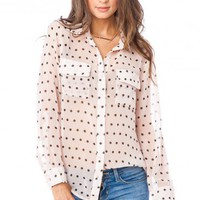 Polka Dot Chiffon Blouse in Blush - ShopSosie.com