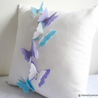 The Butterfly Effect White Pillow Cover Dreamy WonderlandFlyWings | SmilingCloud - Housewares on ArtFire