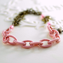 NEW Silk Rope Bracelet, Soft Rose Pink, Antiqued Brass Metal Chain, Heart Charm, Czech Glass Beads, Asymmetrical Jewelry