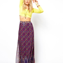ASOS | ASOS Maxi Skirt in Border Print at ASOS