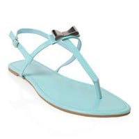 patent t strap sandal with bow - 1000044521 - debshops.com
