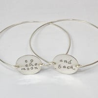 Love Statement Bangle Bracelet, To The Moon And Back, Silver Jewelry, Stamped Silver Disc Wire Band Bangles