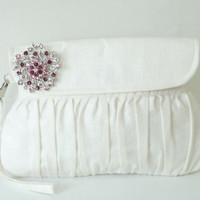Ivory Clutch Bridesmaid Gift / Bridal Clutch with Purple Rhinestone Brooch