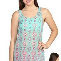 aztec diamond printed tank with dyed to match crochet patch on back - 1000049919 - debshops.com