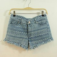 Geometry Grphic Denim Shorts