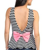 black and white striped envelope back peplum tank top with neon pink bow - 1000049276 - debshops.com