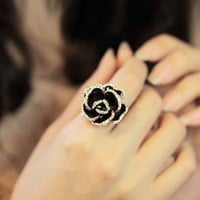 Black Rose Statement Adjustable Ring | LilyFair Jewelry