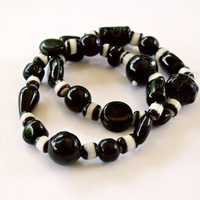 Black and White Beaded Stretch Bracelet One size fits most