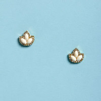 Fleur de Lis Ivory Rhinestone Earrings