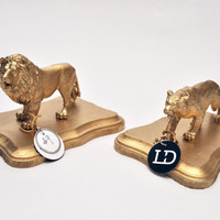 Gold Lion and Tiger Bookends Statues Paperweights Office Decor