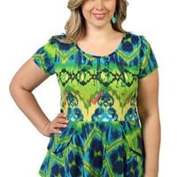 plus size top with a double peplum, tribal print and button back - 1000049781 - debshops.com