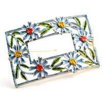 Vintage Enamel Daisy Brooch - 1960s Signed Art Retro Large Blue Flower Costume Jewelry Pin / Statement Mod Petals