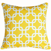 Trellis Decorative Pillows Sunshine Yellow on by PillowThrowDecor