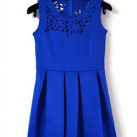 Blue Sleeveless Asymmetrical Hollow Pleated Dress