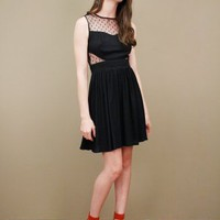Light and breezy black dress with polka dotted mesh insets at cutouts | shopcuffs.com