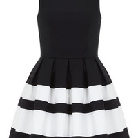 Navy stripe band dress