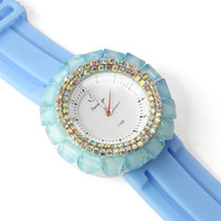Beads Round Light Blue Watch