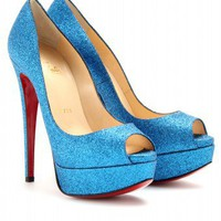 mytheresa.com -  Christian Louboutin - LADY PEEP 150 MINI GLITTER PUMPS - Luxury Fashion for Women / Designer clothing, shoes, bags
