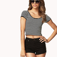 Striped Stretch-Fit Crop Top