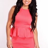 Coral Floral Embossed Print Peplum Dress