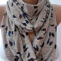 Infinity Scarf  Circle Scarf  Tube scarf--Little sparrow---Mothers Day Gift
