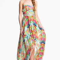 As U Wish Floral Chiffon High/Low Gown (Juniors) | Nordstrom