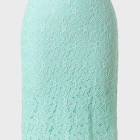 Verona Lace Pencil Skirt In Mint at ShopRuche.com