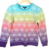 Rainbow Snowflake Nordic Tacky Ugly Ski Sweater Women's Size Small (S) $12 - The Ugly Sweater Shop