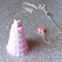 Let Them Eat Cake - Pastel Pink Cake Charm Necklace from On Secret Wings