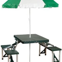 Stansport Picnic Table and Umbrella Combo Pack, Green
