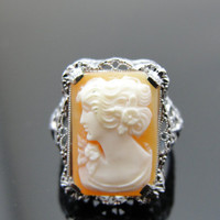 Ladies Cameo Ring in 10k White Gold Filigree, Cocktail Ring, Art Nouveau Beauty RGCAM101D