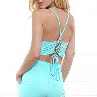 Aqua Tankini Cut Out Romper and Shop Rompers and Jumpsuits at MakeMeChic.com
