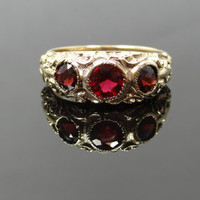 Stunning Victorian Chased Three Red Garnet Flat Ring - RGGA105N