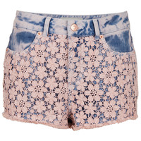 MOTO Pink Acid Crochet Hotpants - Denim - Clothing - Topshop USA