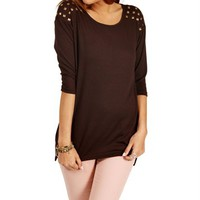 SALE-Chocolate Short Studded Top