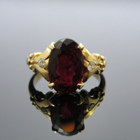 Rubellite Tourmaline in 14k Gold Ring, Handmade From Antique Mold, One of a Kind  RGTRM101D