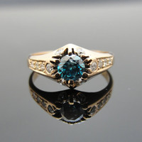 Victorian Rose Gold Engagement Ring with Modern Blue Diamond, One of a Kind, RGDIA761D