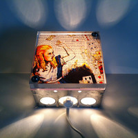 Alice In Wonderland - Repurposed Vintage Dictionary Print Design Night Light