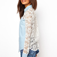 ASOS | ASOS Denim Shirt with Lace Back and Sleeve Detail at ASOS